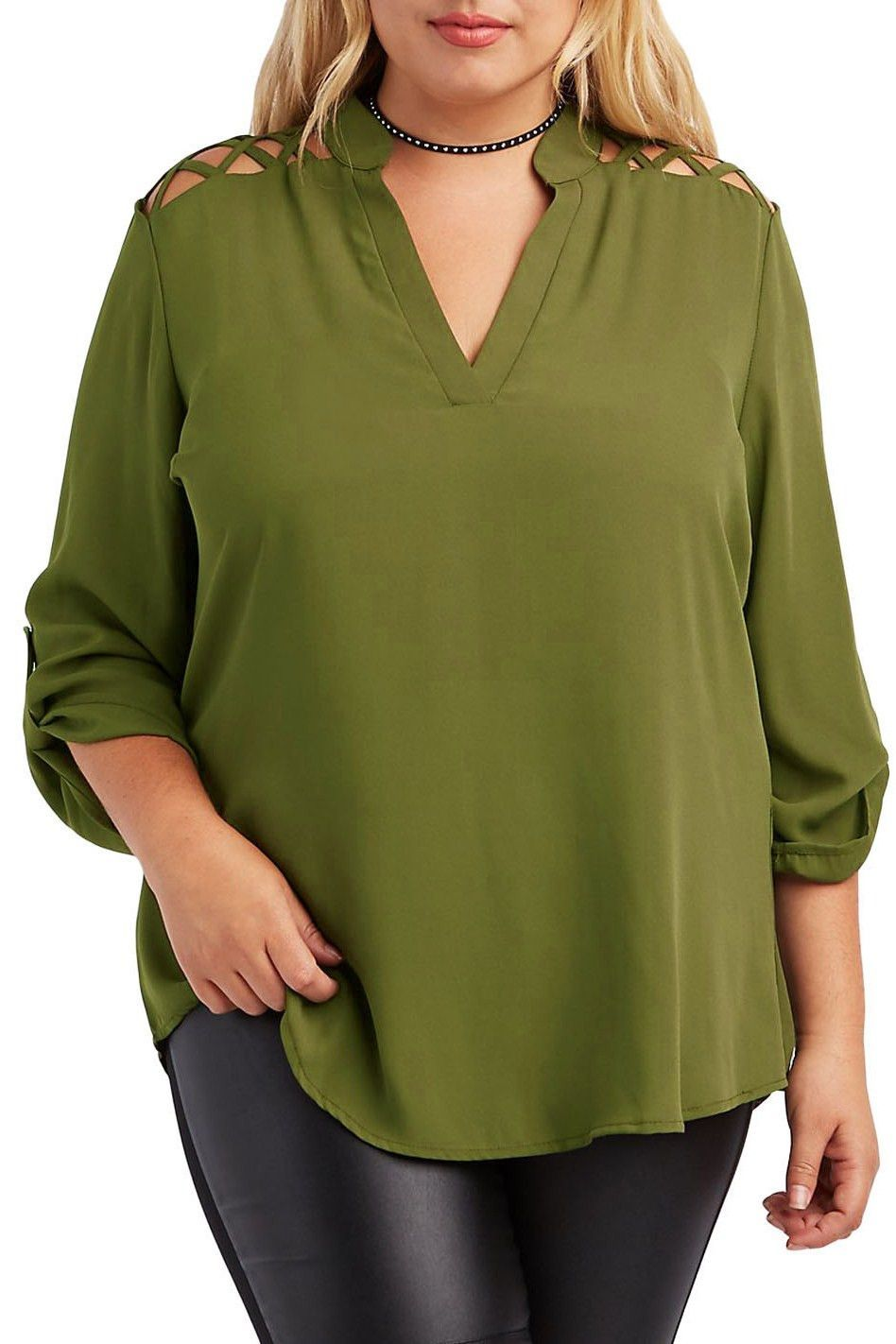 Women casual green plus size caged shoulder split collar blouse my
