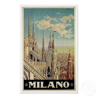 Vintage Milano Milan Italy Poster Art by blueskygiftshop