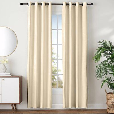 Breakwater Bay Angelo Solid Blackout Grommet Curtain Panels Curtain Color: Linen