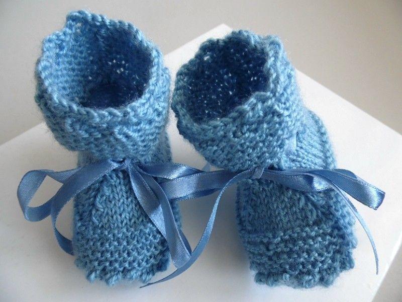 47a781305c3bd Chaussons bébé tricotés main en laine coloris BLEU