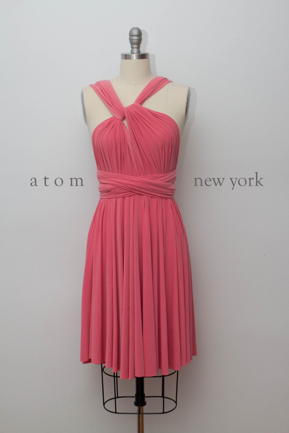 Coral short infinity dress convertible formal multiway wrap dress