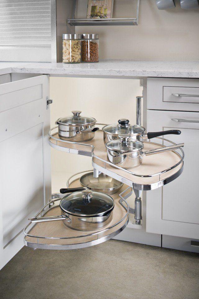 Modern Lazy Susan Great Way To Use A Corner Cabinet Why We Love It Easy Access To Plates Or Kitchen Gadg Mutfak Duzenleme Ic Tasarim Mutfak Mutfak Fikirleri