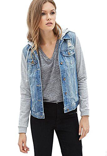 HOLDWELL Women's Short Denim Jacket with Drawstring Hood ** Be ...