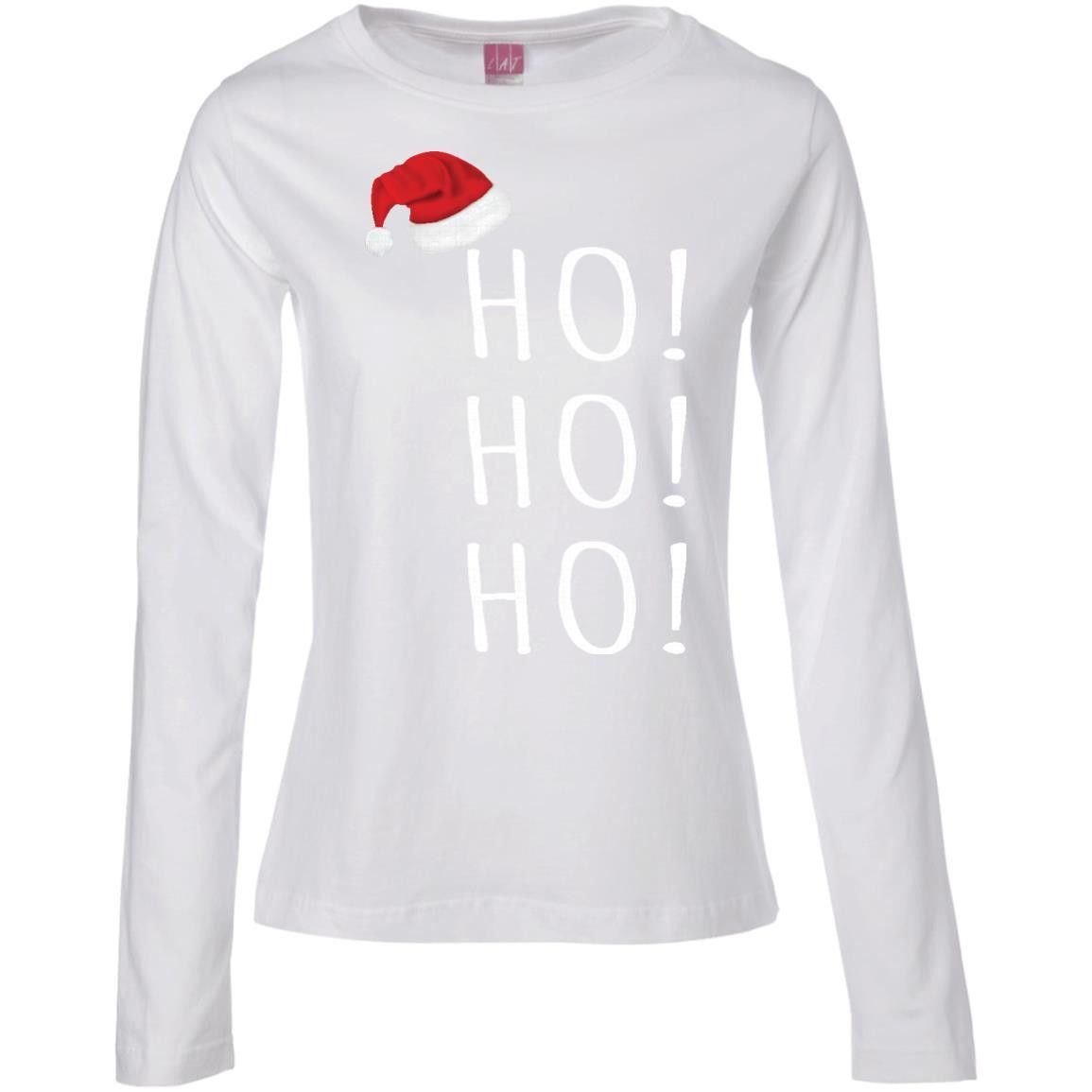 DroolingDog Pet Dog HOHOHO Christmas Holiday T-shirt -01 Ladies' Long Sleeve Cotton TShirt