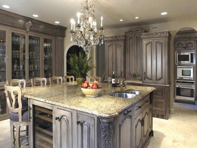 High Quality Attractive Kitchen Cabinet Ideas For Wonderfull Kitchen Design With Big  Kitchen Islan And Wooden Chair Also Pictures