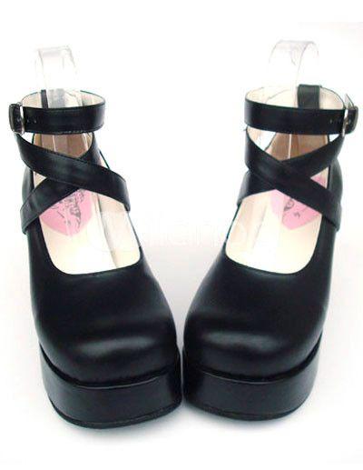 4da46f9b2d26 3   Heel With 1.4   Platform PU Black Cross Straps Lolita Shoes -  Milanoo.com