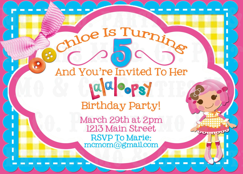 Lalaloopsy Birthday Invitations for Aimees party – Lalaloopsy Birthday Invitation