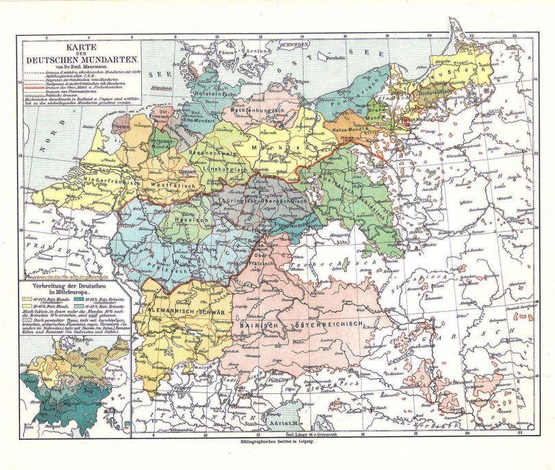 deutsche mundarten karte Karte der Deutschen Mundarten von Dr. Emil Maurmann | Deutsche