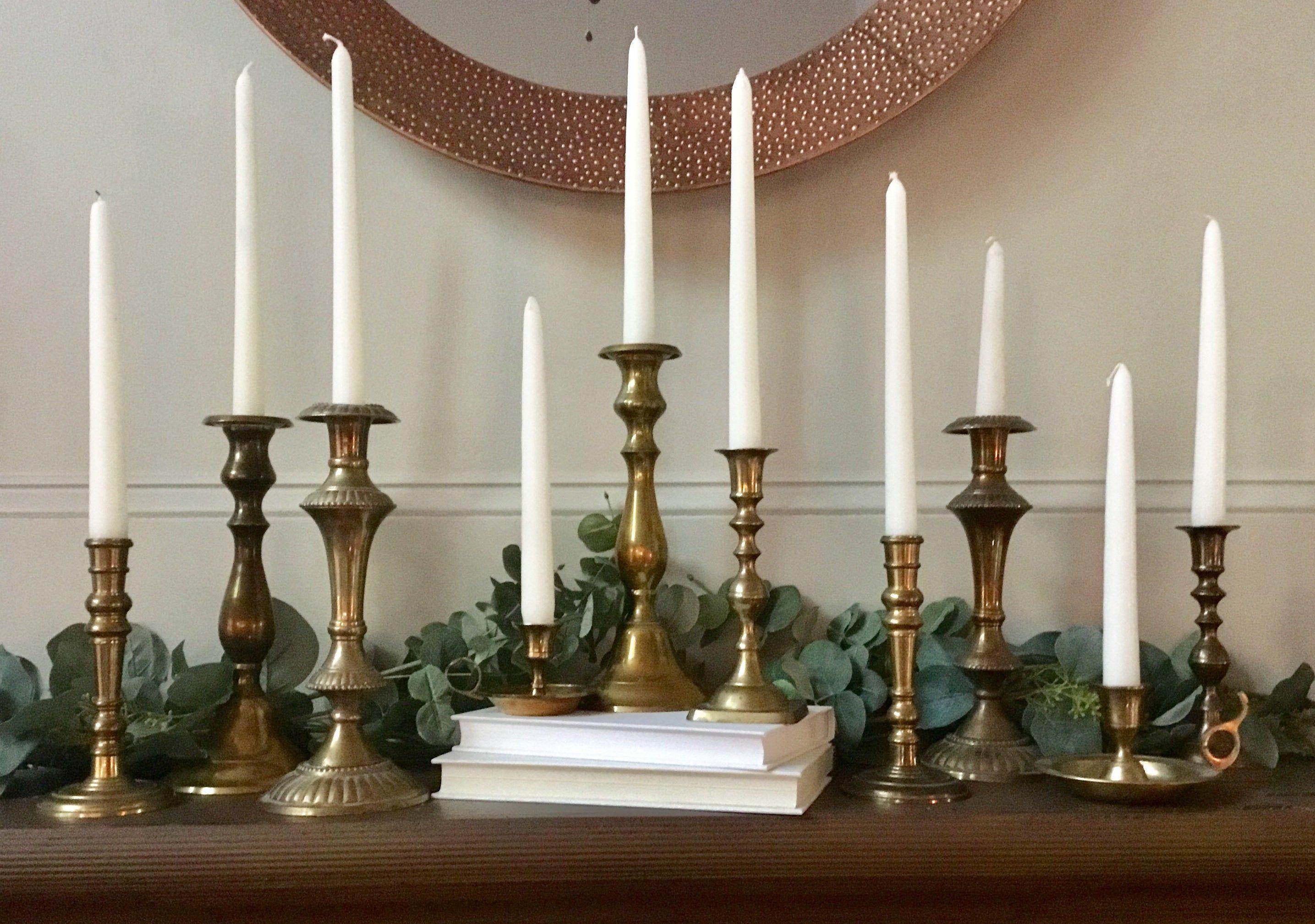 Set Of 10 Brass Candlesticks Solid Brass Candlesticks Lot Etsy Wedding Brass Candlesticks Candle Sticks Wedding Brass Candle Holders