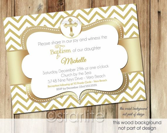Gold White Chevron Cross Baptism Invitation 5x7 size by starwedd