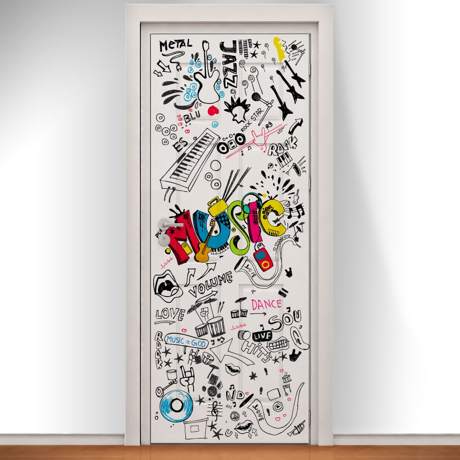 Music graffiti printed doodle door bring any room to life for Bedroom doors design catalogs