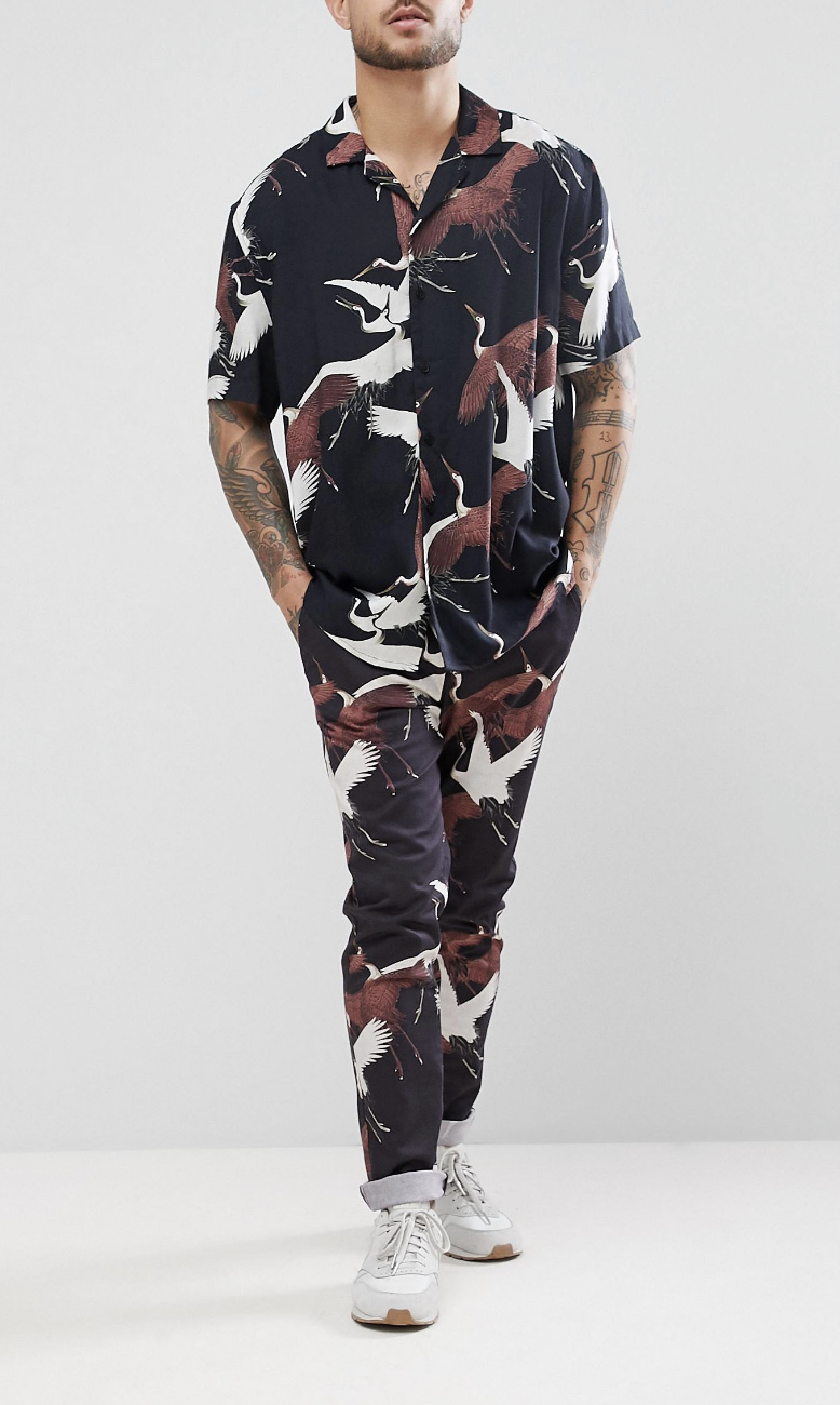f092444a007 On my wish list   ASOS Co-Ord Skinny Trousers With Bird Print In Black from  ASOS  ad  men  fashion  shopping  outfit  inspiration  style  streetstyle   fall ...
