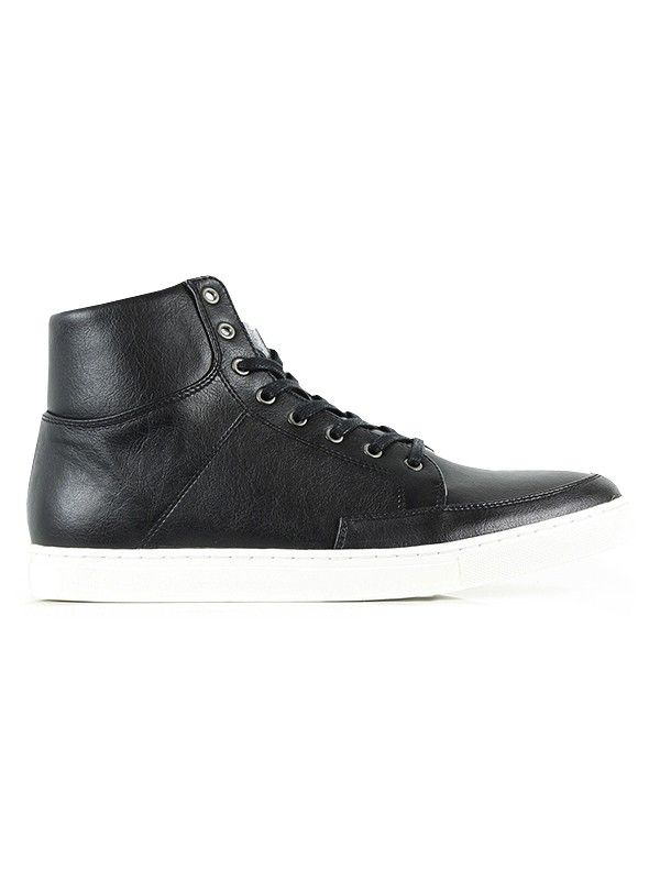 Vegan Vegetarian Non-Leather Animal and Human friendly Mens Sneaker Boots  Black
