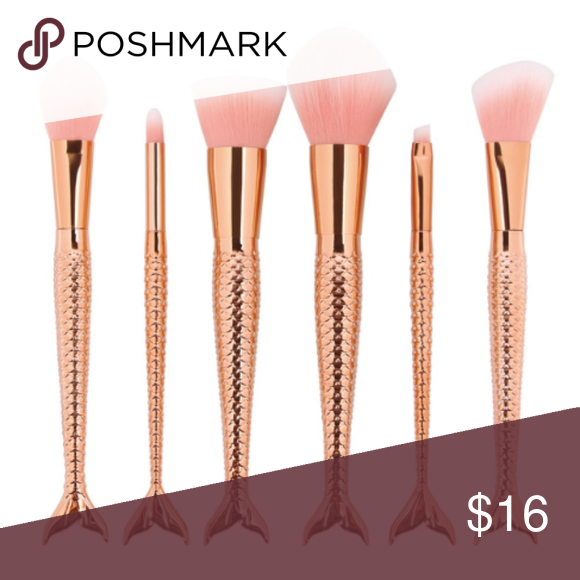 Rose Gold Mermaid Makeup Brush Set New rose gold mermaid makeup brushes. Super soft synthetic hair. Includes powder, contour, blush, and eyeshadow brushes. New in packaging. Makeup Brushes & Tools