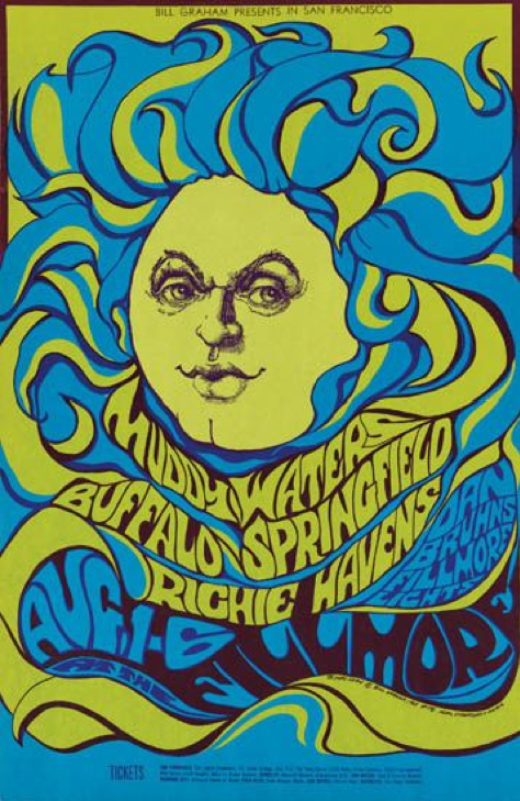 Psychedelic Music Poster 1966 1968 Muddy Waters Filmore Rock Poster Art Psychedelic Poster Rock Posters