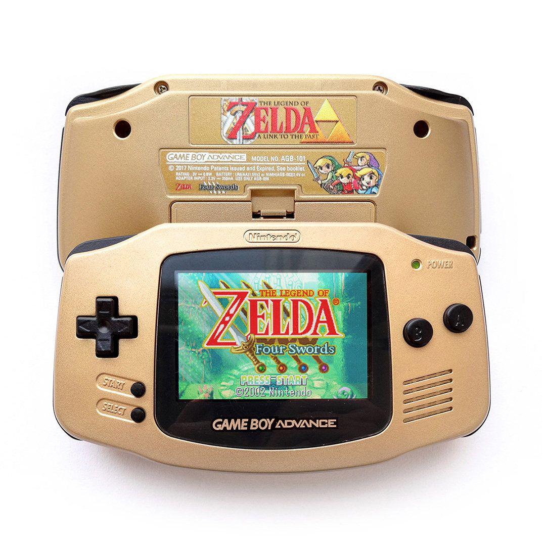Nintendo Game Boy Advance Gba Backlit Agb 101 Mod Gold Custom Zelda Console Box Gameboy Nintendo Nintendo Game Boy Advance