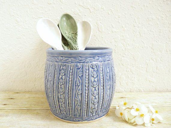 Ceramic Utensil Holder for Kitchen Storage by MyMothersGarden on Etsy, $38.00