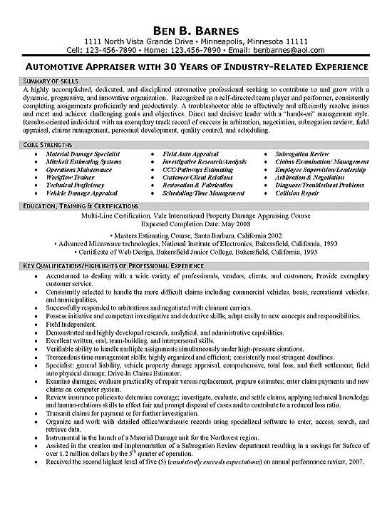 Insurance Appraiser Resume Examples Resume examples, Sample