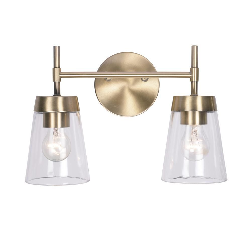 Photo of Kenroy Home Delgato 2-Light Antique Brass Bathroom Vanity Light 93982AB – The Home Depot