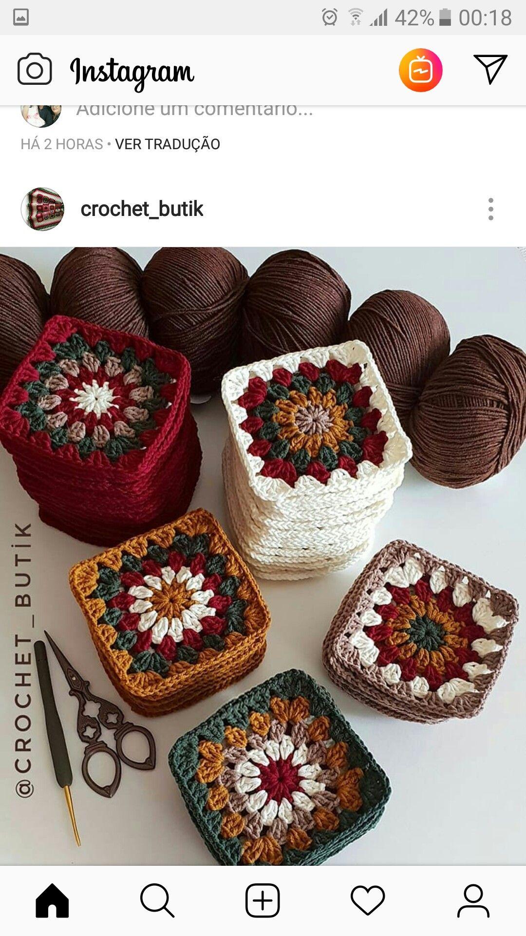 Autumn themed granny squares #grannysquares