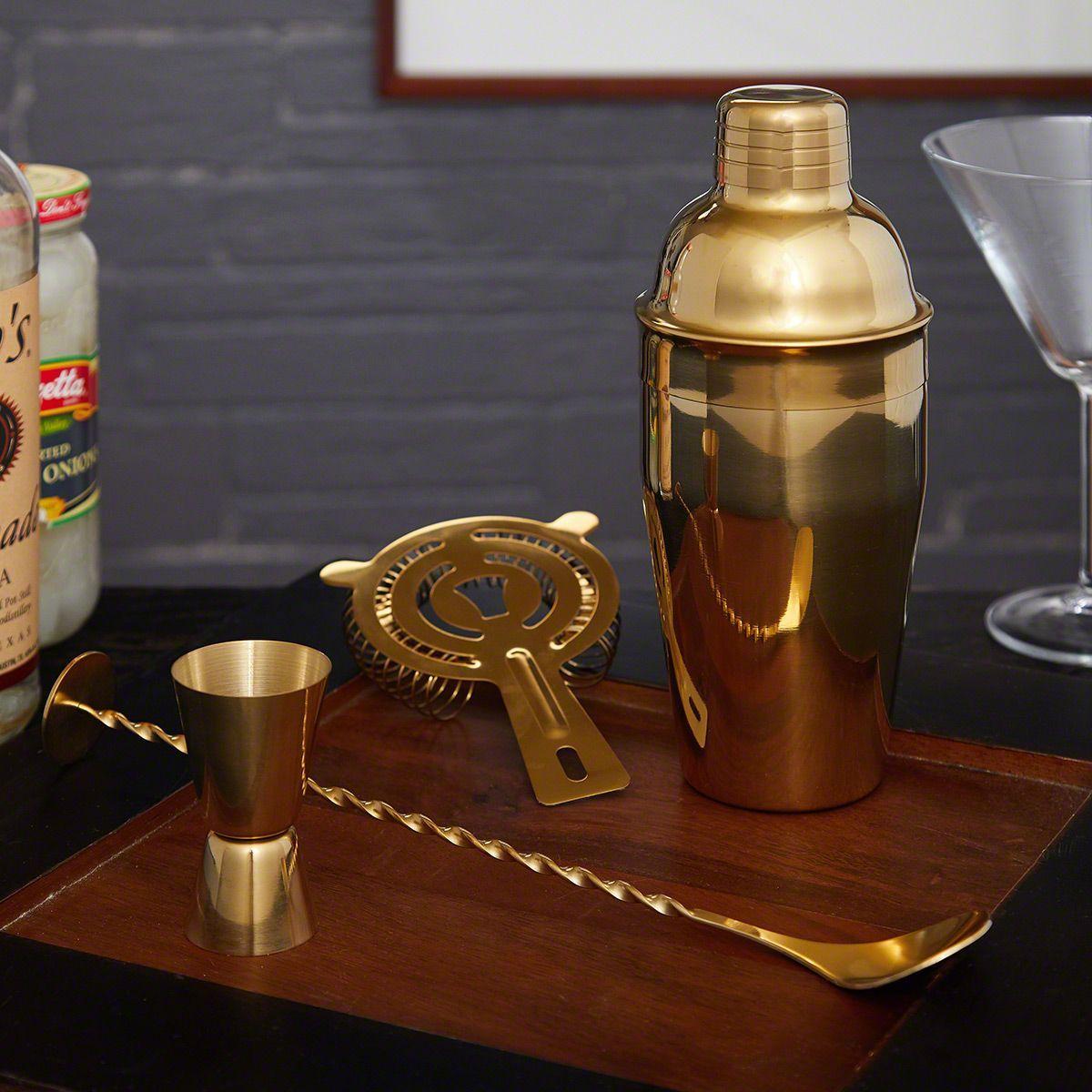 Ridgemont Gold Bar Tool Set And Cocktail Shaker Engravable In 2020 Bar Tool Set Bar Tools Cocktail Shaker