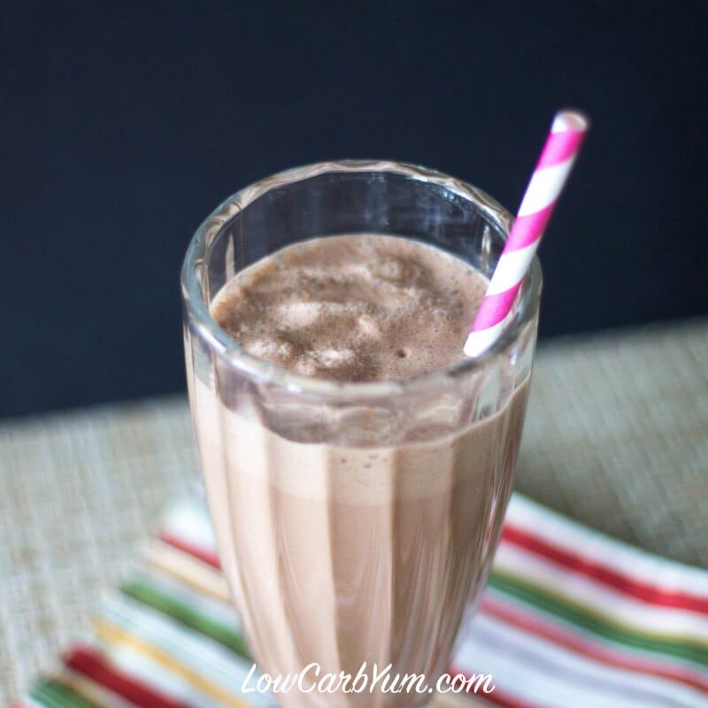 A healthy low carb peanut butter chocolate milkshake that