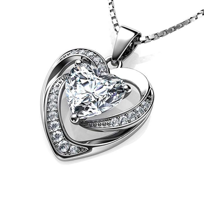 Cubic Zirconia Double Love Heart Pendant 925 Sterling Silver Rhodium-Plated CZ