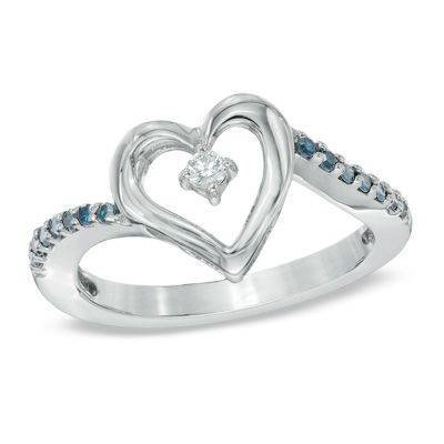 1/5 CT. T.W. Enhanced Blue and White Diamond Heart Ring in Sterling Silver - Clearance - Zales