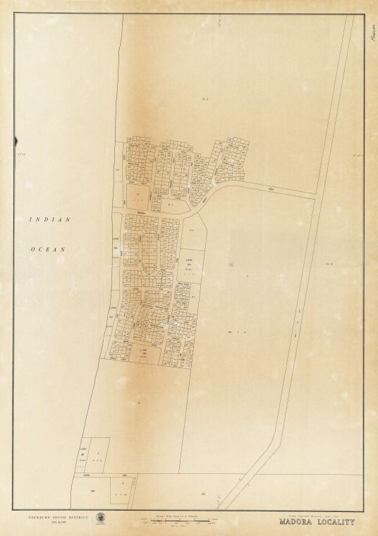MADORA LOCALITY Cadastral map showing land use. Cockburn Sound District 380A/40. Part of collection: Townsite maps, Western Australia. https://encore.slwa.wa.gov.au/iii/encore/record/C__Rb1933365