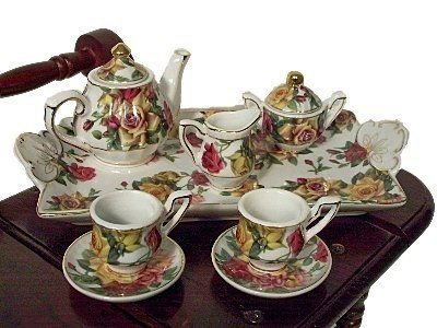 Antique Rose Pattern Miniature Fine China Tea Set Perfectly Sized for American Girl Dolls by The Queen's Treasures. $29.99. From the Manufacturer                Our fabulous line of collectible fine china mini tea sets. Designed and Exclusively manufactured by us, The Queen's Treasures. Nothing could be prettier than this fine quality miniature porcelain tea set scaled just right for use with collectible dolls or tea set collections. This tea set includes a porcel...