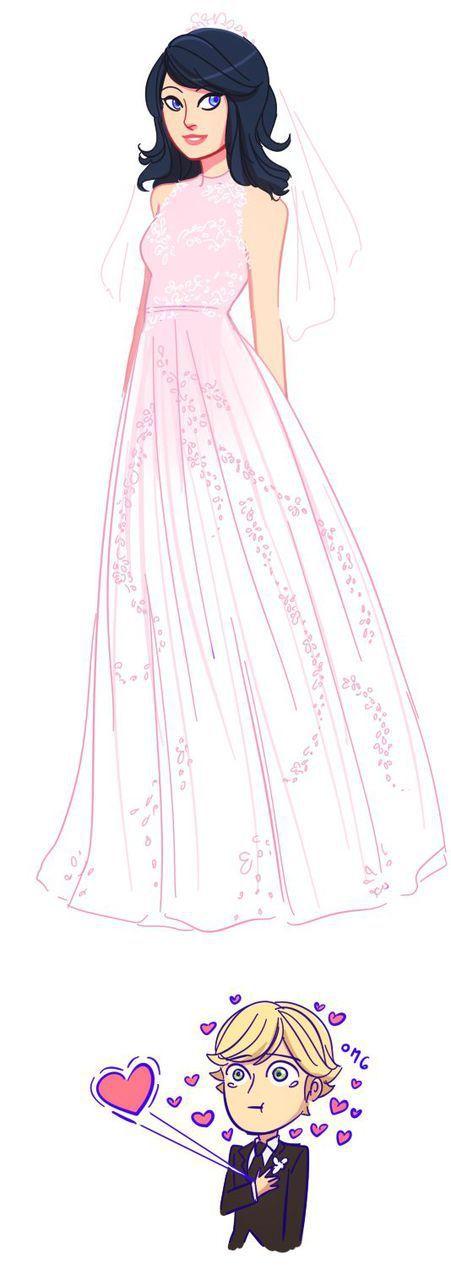 Леди Баг невеста: 10 красивых артов с Маринет в свадебном платье