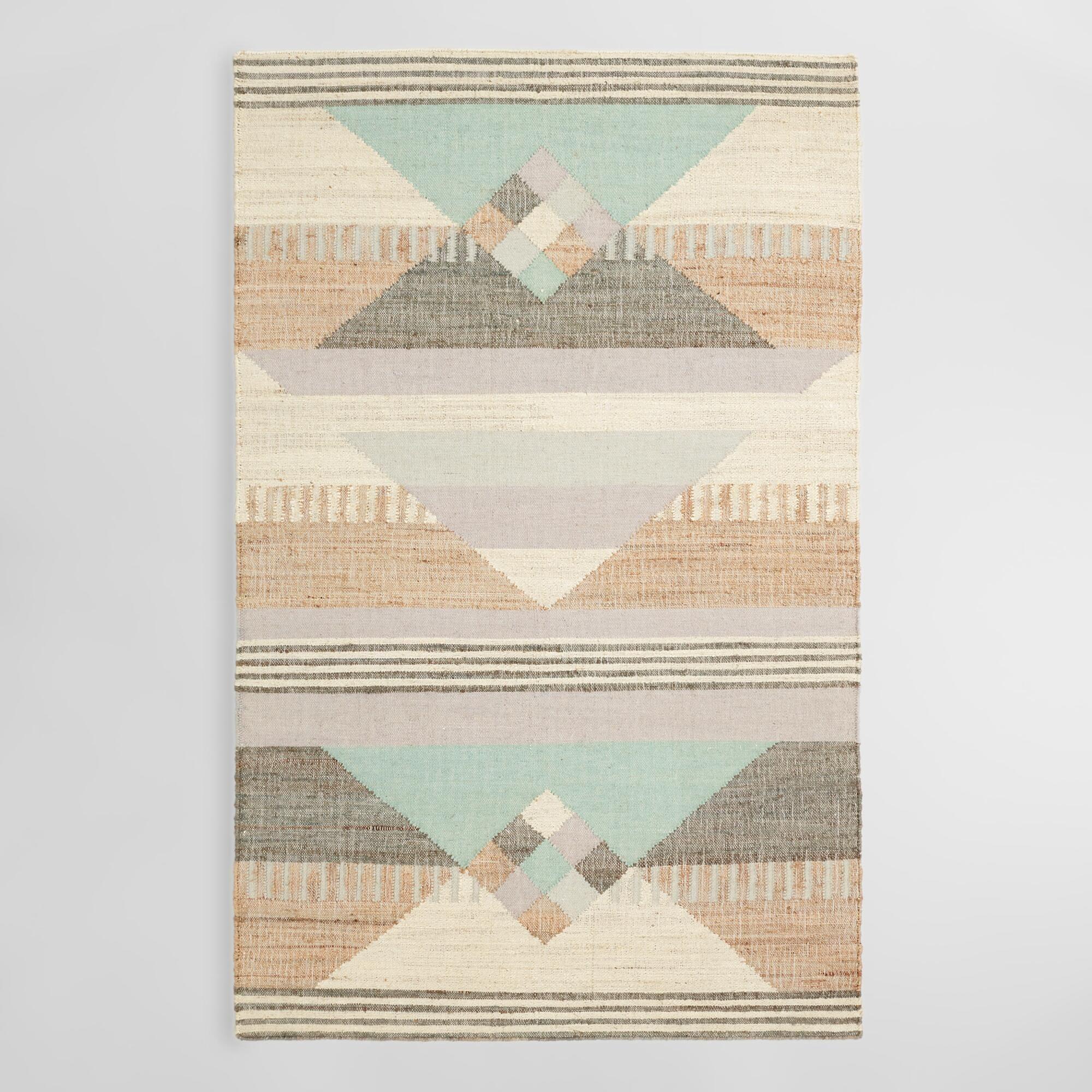 Geometric Jute And Wool Kilim Sarafina Area Rug 8ftx10ft By