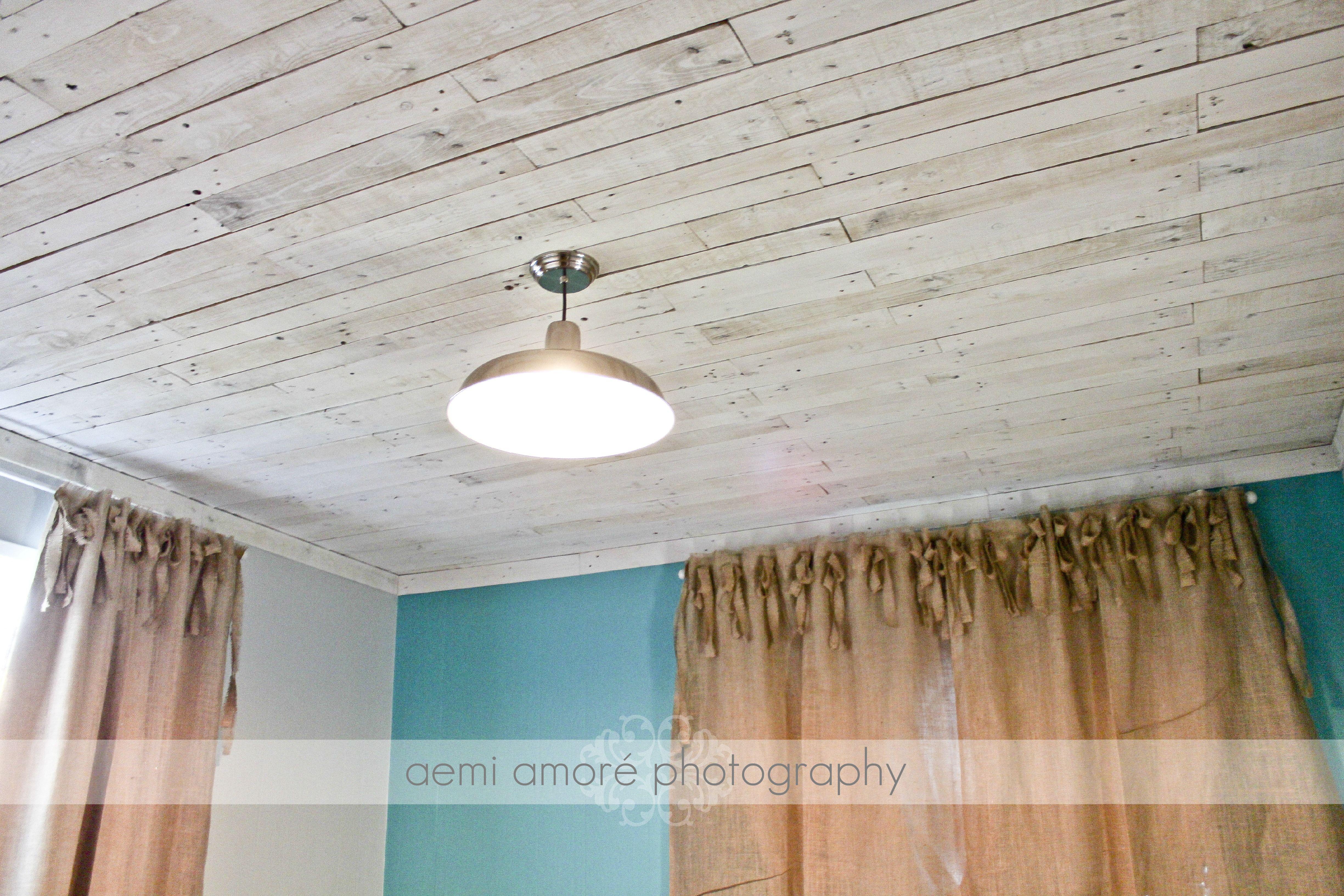 White Washed Ceiling I Made Using Pallet Wood, I Added