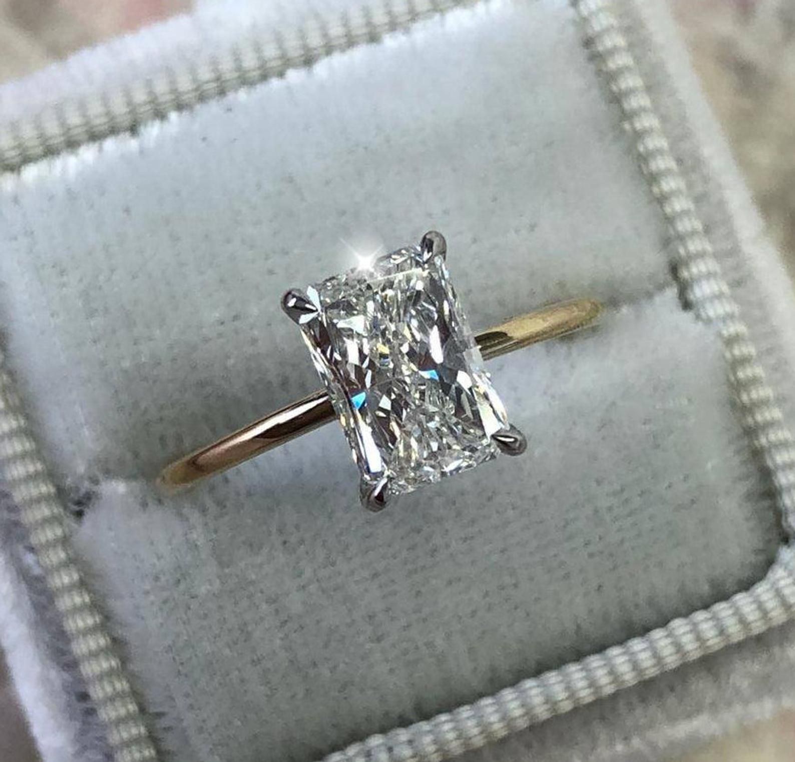 1 Carat Diamond Engagement Ring, Solitaire Radiant Diamond Ring, 14k White/Yellow Gold, Two-Tone Ring, Diamond Engagement Ring