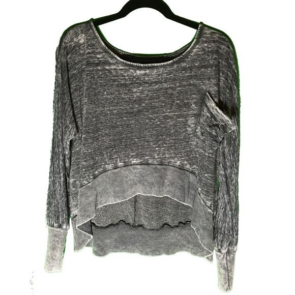 Crop Sweatshirt Super soft dark grey crop sweatshirt. Pocket on front, high-low effect. Donni Charm Tops Sweatshirts & Hoodies