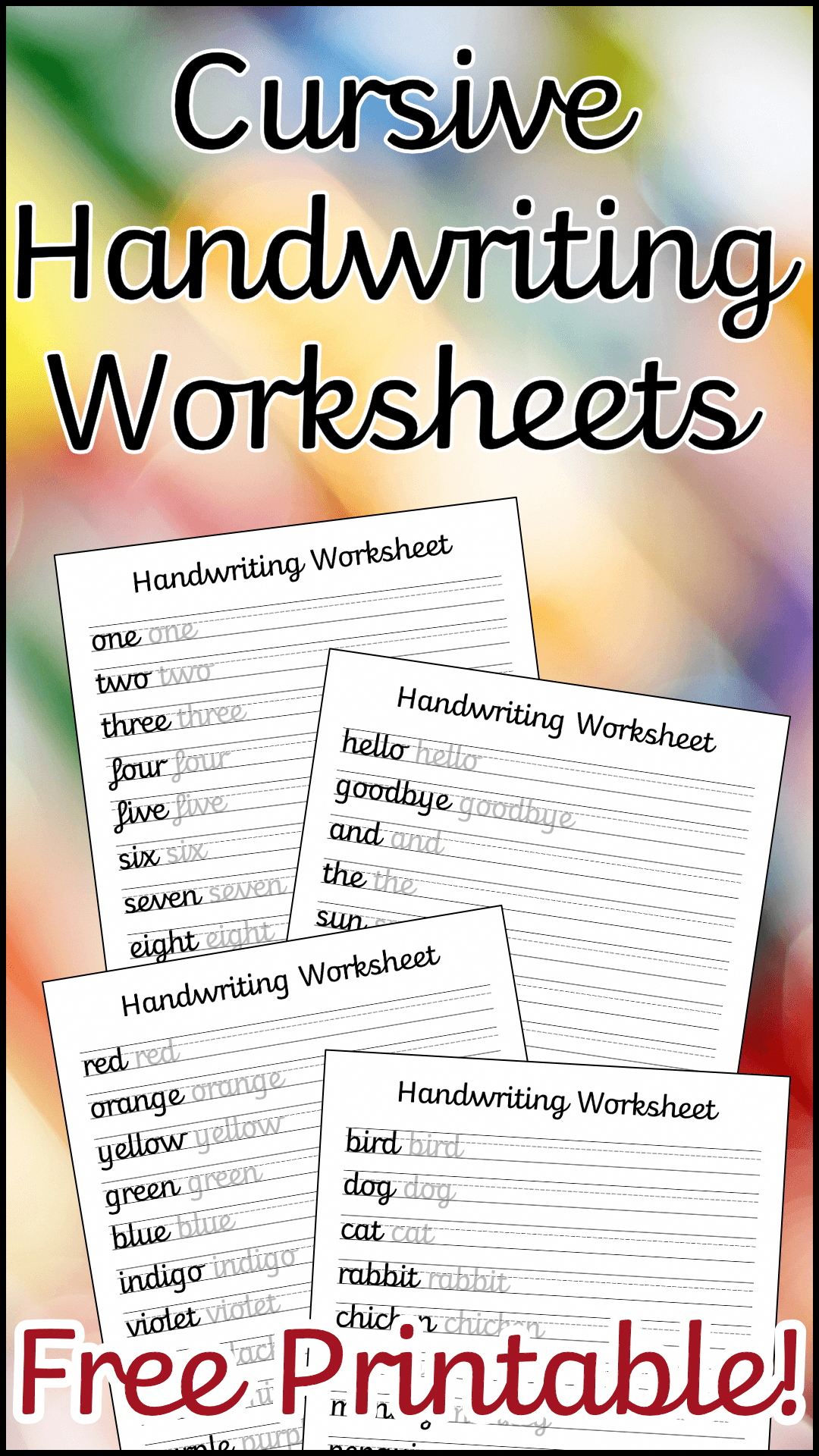 A Set Of 10 Cursive Handwriting Worksheets To Help Your