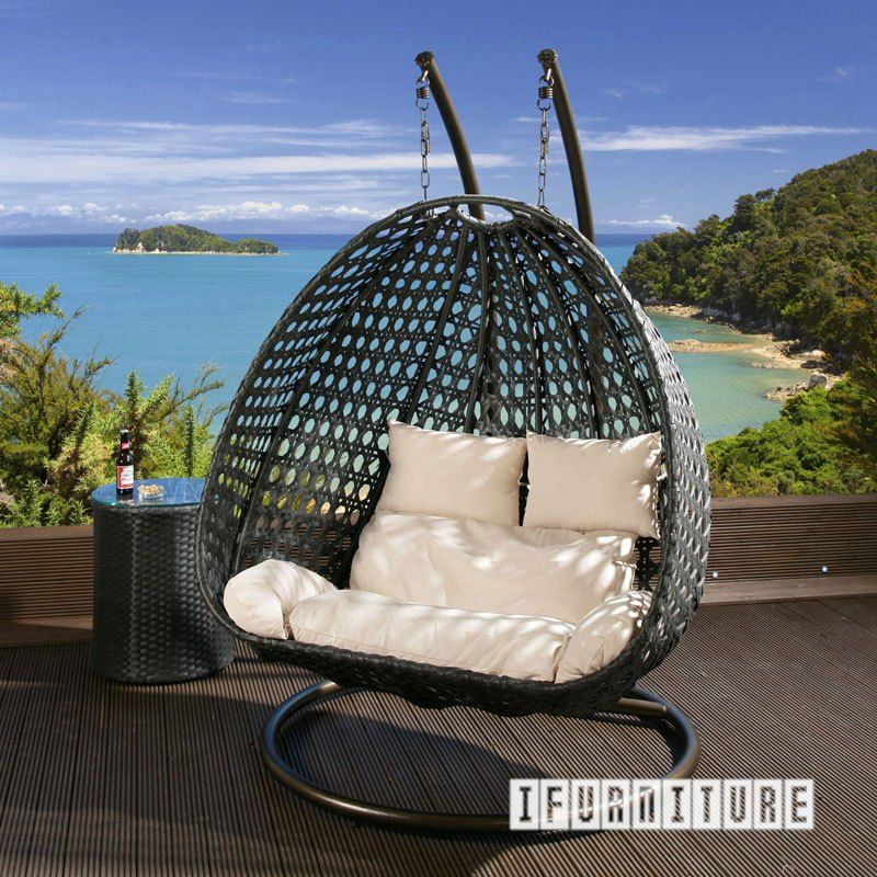 Architect Double Seat Rattan Hanging Egg Chair Outdoor