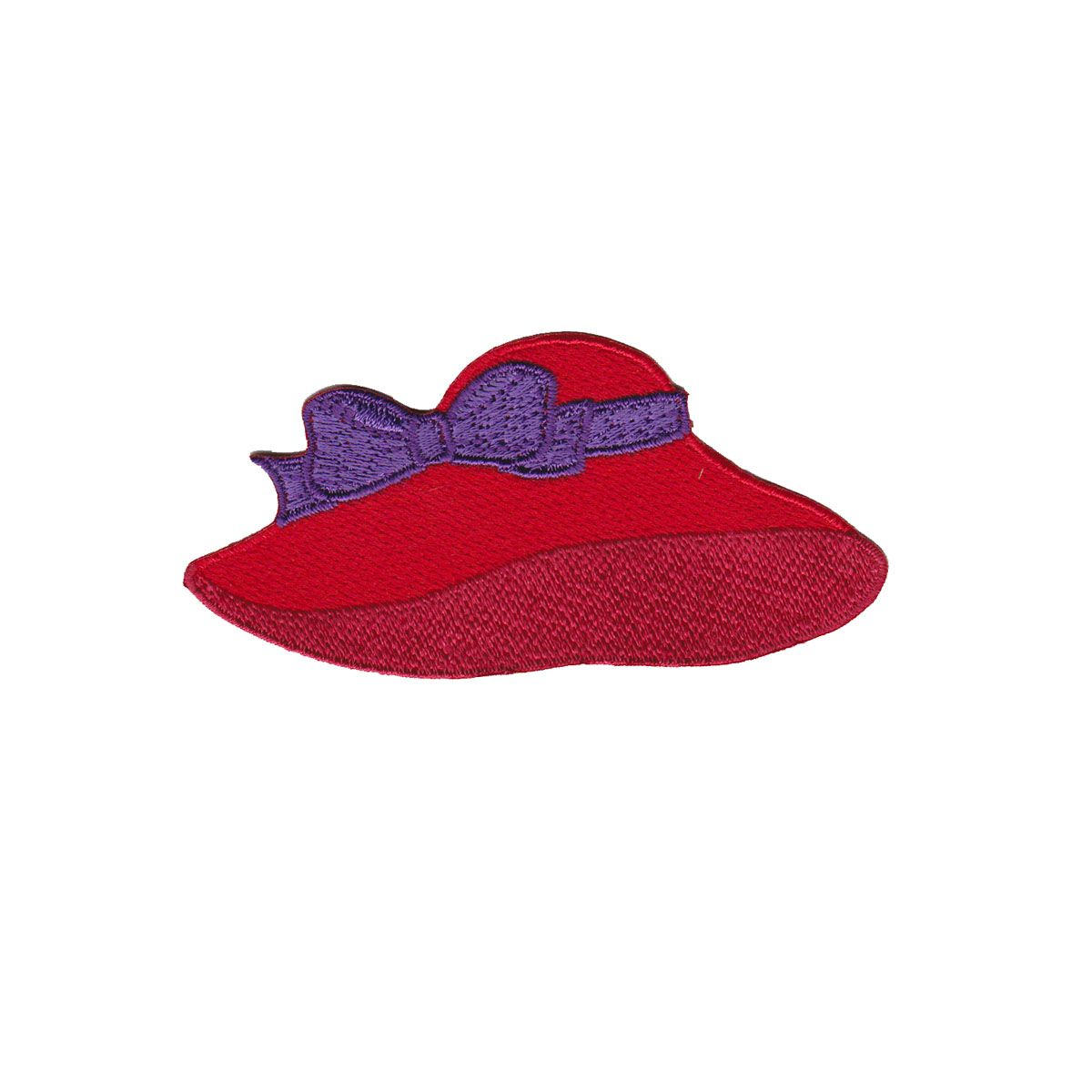 APPLIQUES IRON ON RED HAT SOCIETY EMBROIDERED FABRIC