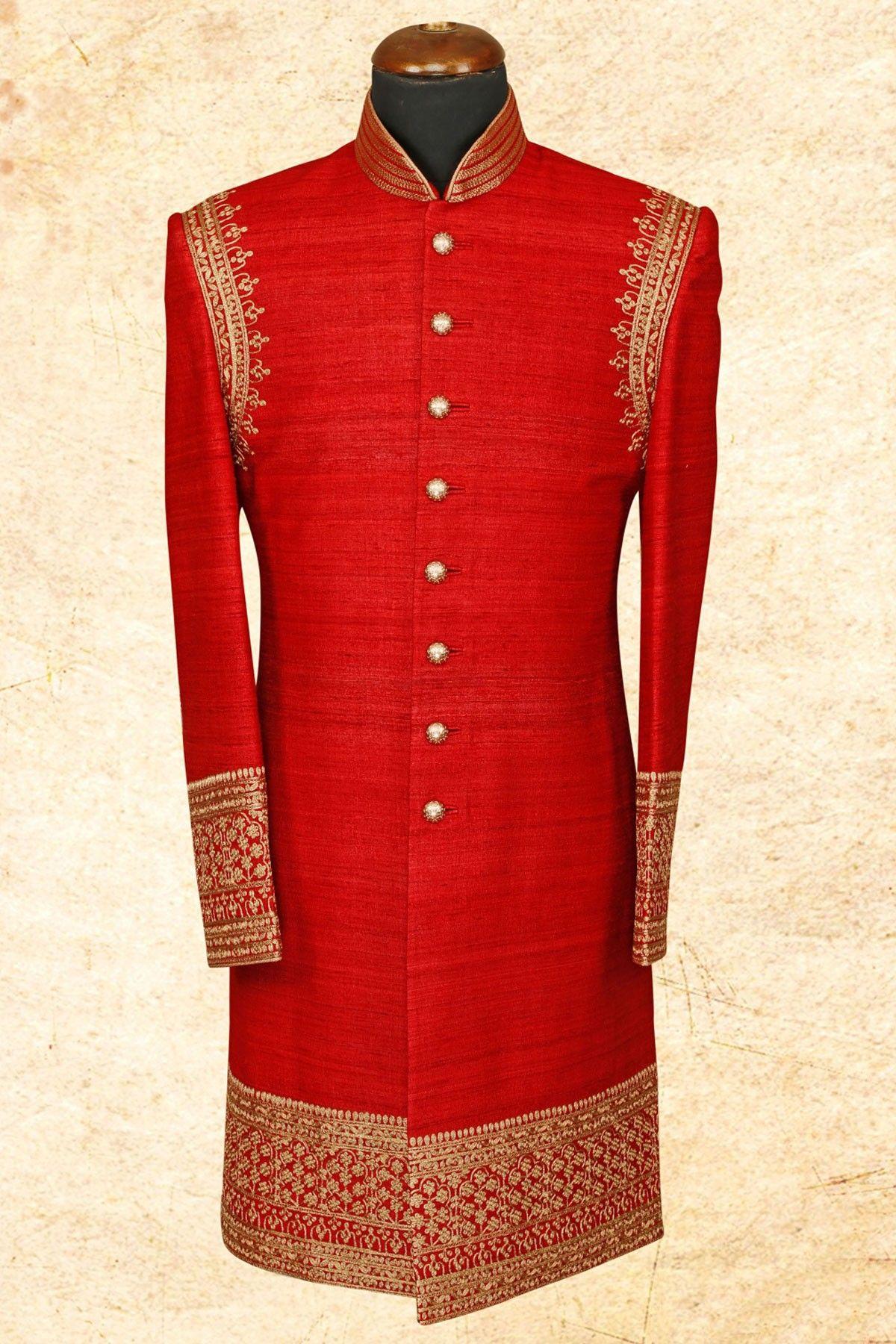 Red stately raw silk sherwani with bandhgalaiw style