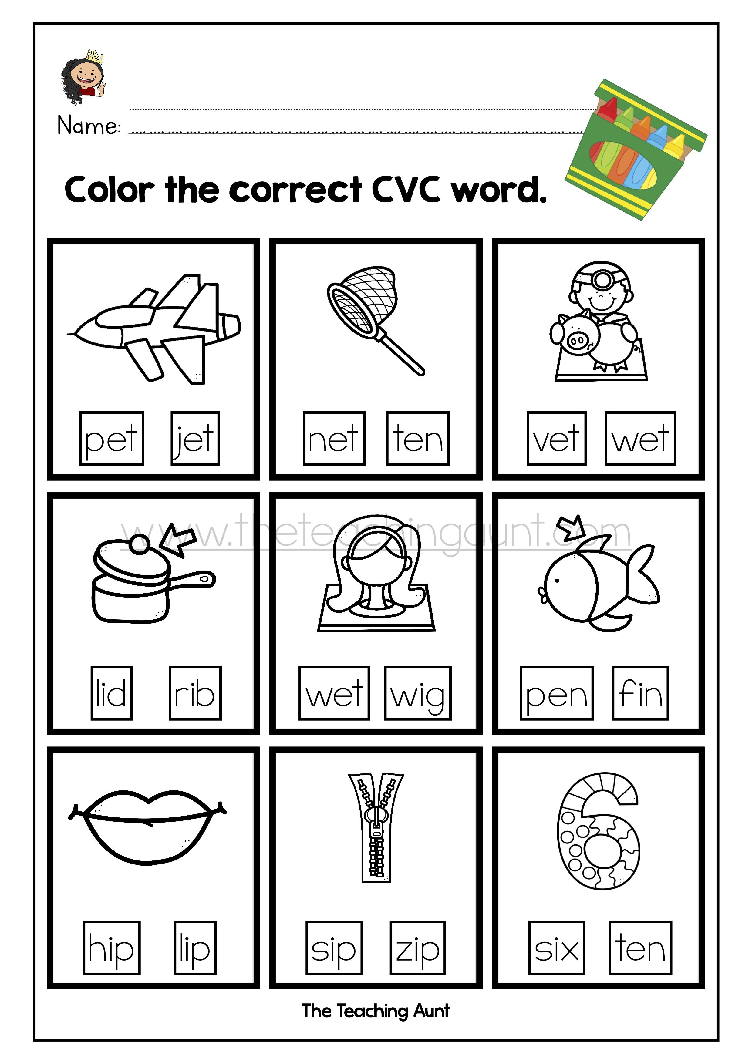 Cvc Words Worksheets For Kindergarten The Teaching Aunt Kindergarten Worksheets Cvc Words Cvc Words Kindergarten Worksheets