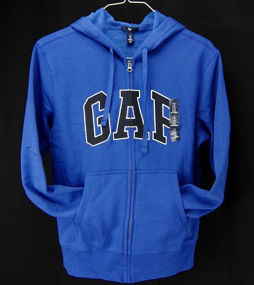 81704d6e9 Gap Womens Logo Hoodie Sweatshirt Blue Black Full Zipper Cotton ...