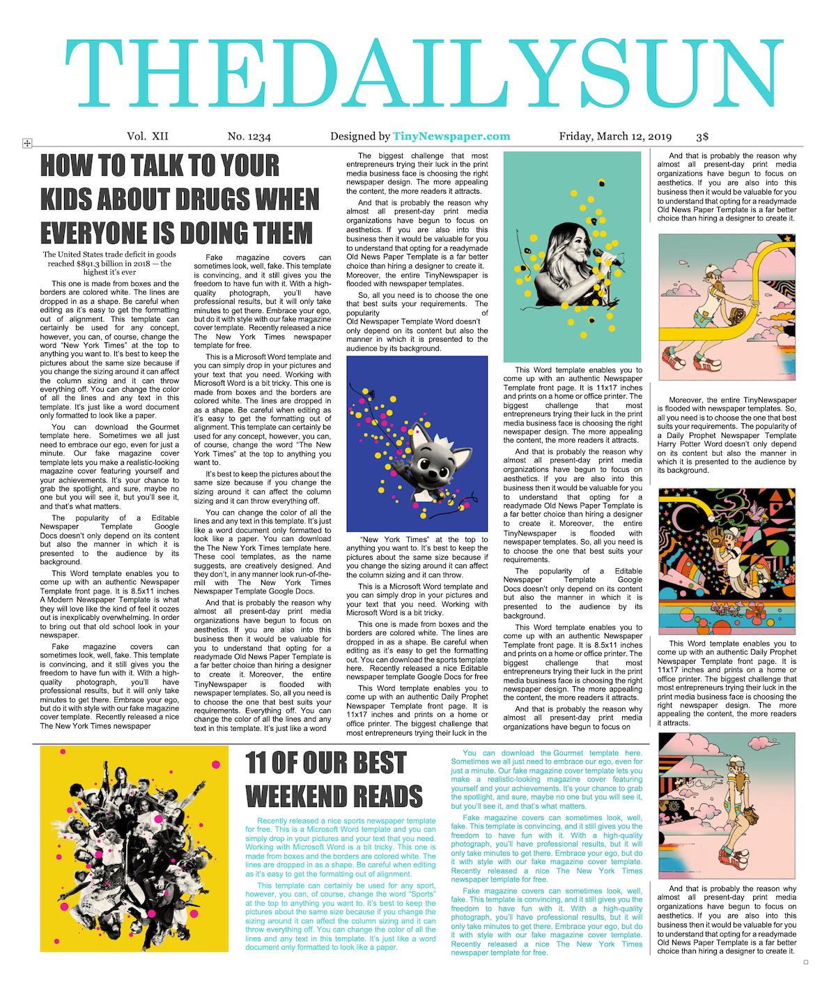 Sample Newspaper Article Template