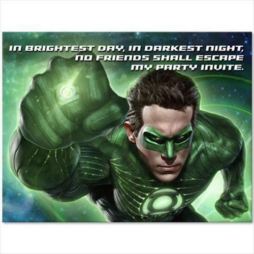 Green Lanterns Invitations w/Envelopes