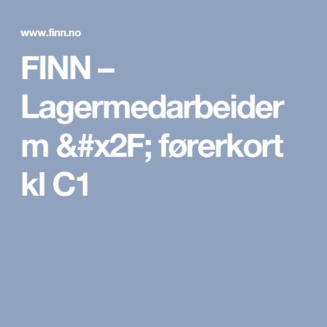 FINN – Lagermedarbeider m / førerkort kl C1