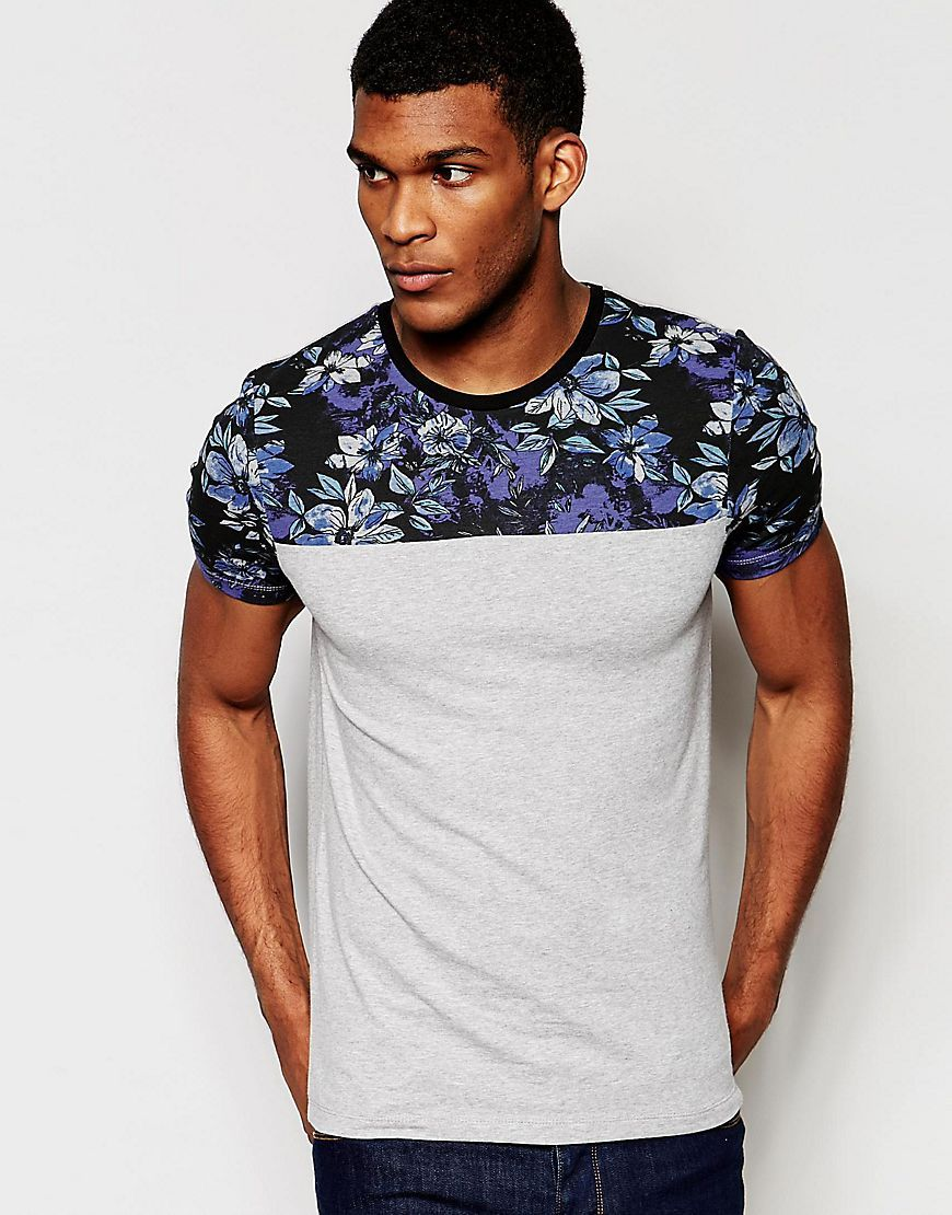 d04563ba ASOS+Muscle+T-Shirt+With+Floral+Yoke+And+Sleeves+In+Grey | ON final ...