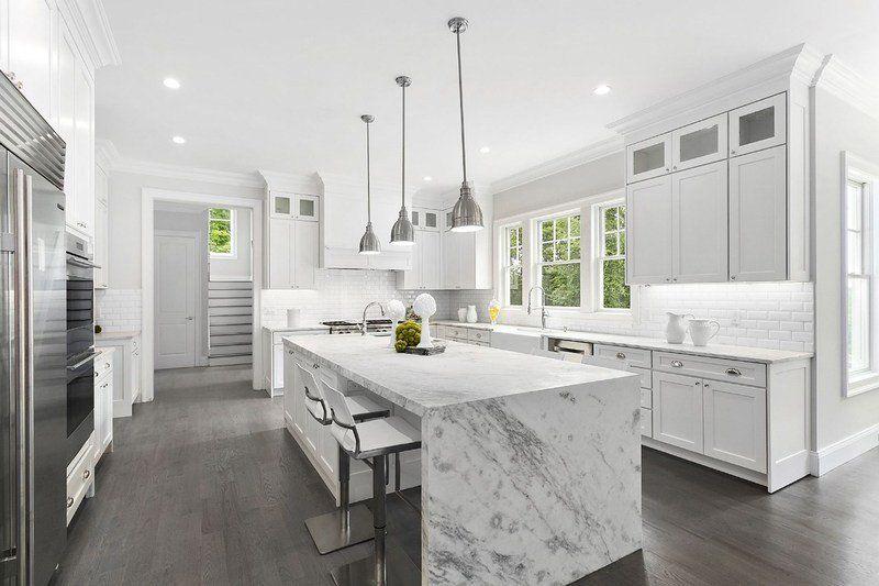 Sample Photo Waterfall Countertop Countertops White Modern Kitchen