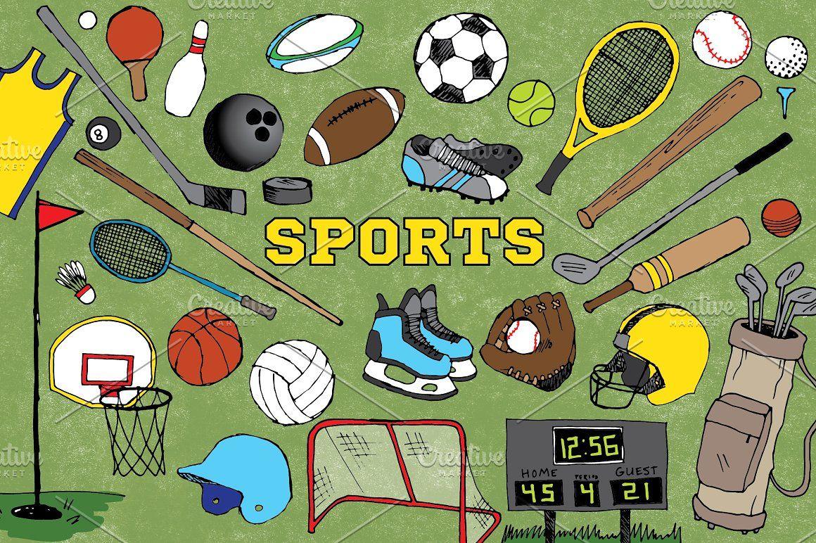 Sports Clipart Football Clip Art Soccer Golf Basketball Tennis Rugby Hockey Cricket Pool Badminton Volleyball Baseball