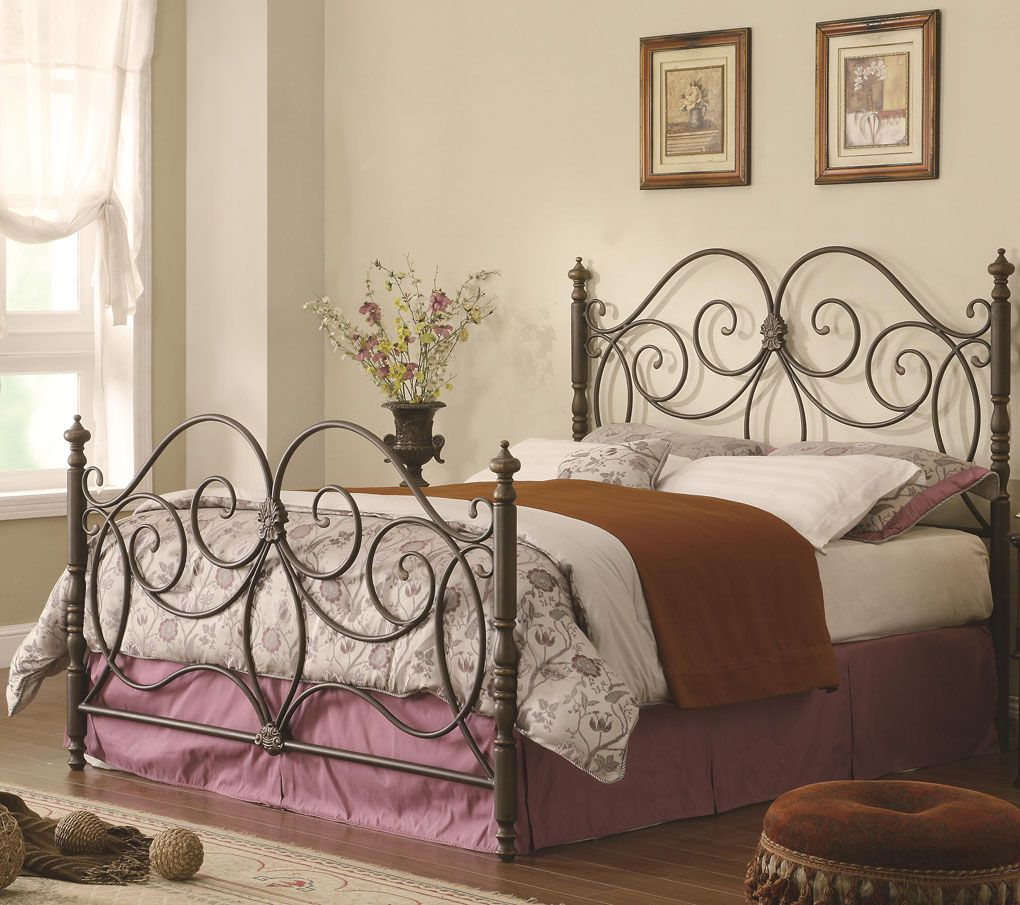 Iron Headboard & Footboard Bed with Scroll Details (perfect with all ...