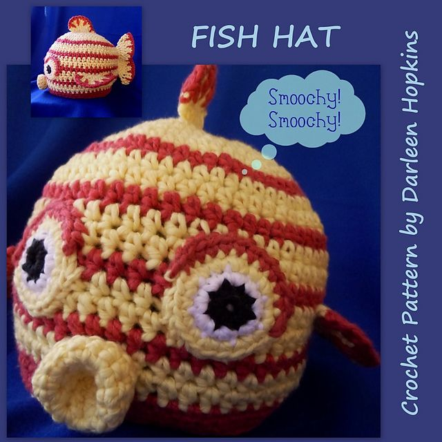 Kissy! Kissy! Fish Face Hat for boys and girls pattern by Darleen ...