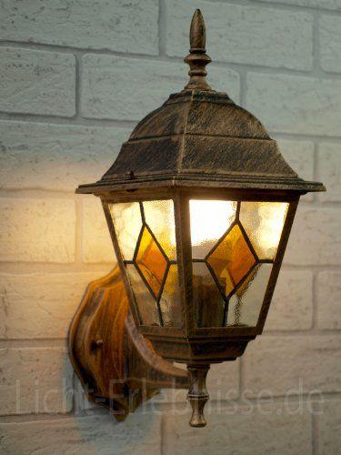 Rústica lámpara de pared / iluminación exterior ip43 / oro antiguo ...